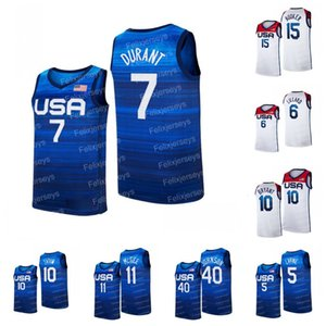 USA 2021 Tokyo Olympics Basketball Jersey 7 Kevin Durant 5 Zach LaVine 6 Damian Lillard 10 Jayson Tatum 10 Bryant 11 JaVale McGee 15 Devin