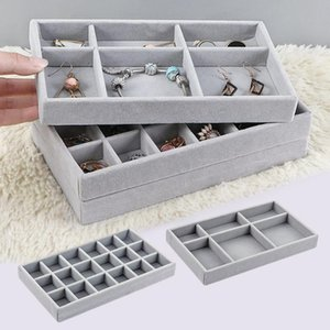 Gray Stackable Velvet Jewelry Trays Organizer Storage Display For Drawer Earring Necklace Bracelet Organize Box Drawers