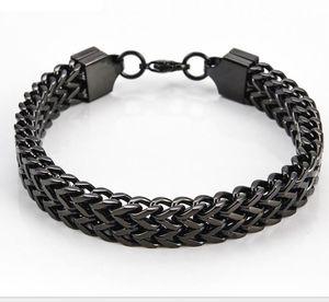 Wholesale 12MM 316L Titanium Steel Silver Gold Black Color Front Back Chain Bracelet & Bangles Cool Fashion Men's Jewelry Length