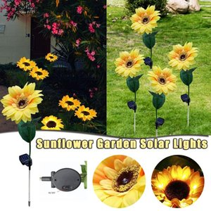 2pcs Led Sloar Light Sunflower Style Lawn Outdoor Waterproof Flowers Lamp For Courtyard Garden Decor Solar Lamps Decorative & Wreaths