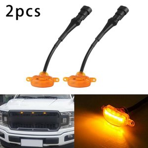For 2021-17 F-150 4-Door Raptor Style Bumper Grille Amber LED Lights Car Front Light Decorative Lamps Interior&External