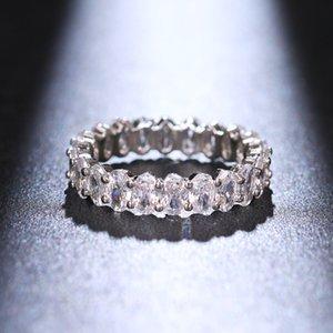 Choucong Vintage Moda Takı Gerçek 925 Ayar Gümüş Prenses Beyaz Elmas Eternity Kadınlar Düğün Nişan Band Yüzük Hediye 961 Q2