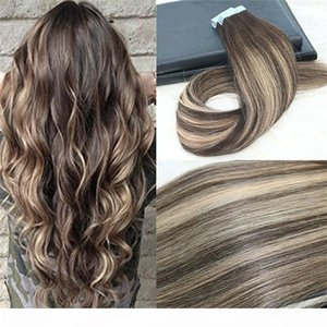 Remy Tape in Hair Extensions Balayage Color Dark Brown #2 Fading to Blonde #27 Mixed #3 Unprocessd Real Hair Seamless 100g 40pcs