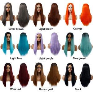 Parrucche di capelli cosplay più economici dei capelli mori ragazza lunga onda del corpo lato bang resistente al calore fumetto viola ombre parrucca sintetica