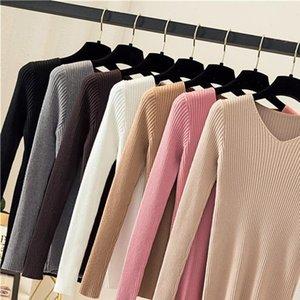Gumprun Womens Suéter Mujeres Tops de invierno Slim Fashion Fashion Wild Vintage Hecha de punto en V Caída Soft Soft Skill Rayas Pullovers