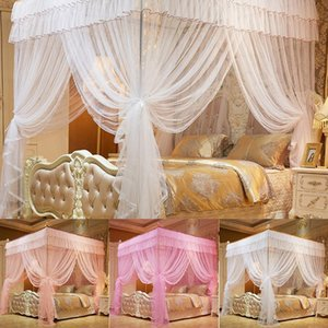 Mosquito Net 1.5*2 M 4 Posters Pink Bed Canopy Princess Queen Bedding Tent Four Corners Floor-Length Curtain #5O