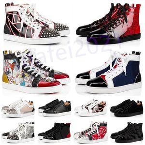 Мужские повседневные туфли Женщины Наружные красные днища Обувь Штабные Шташки Мокасины Кроссовки Замшевые Кожаные Квартиры Ttrainers Jogging Des Chaussures A45