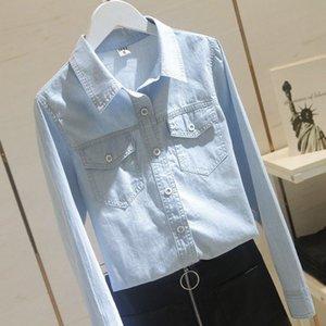 Spring autumn Korea fashion female long turn-down collar double pocket shirts cotton denim casual blue blouse s304