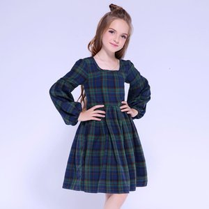 High quality spring and autumn children's dress cotton plaid square collar girls dress puff sleeve pleated skirt dark green