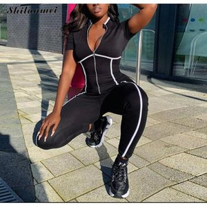 Jumpseau pour femmes Rompers Black Sexy Bodycon Jumpsuit Romper Body Body Body Femmes Zipper V Le cou élégant Stripe Plus Taille Polyester