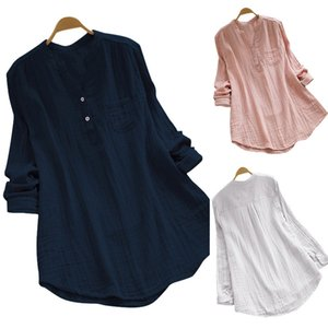 Casual Top Women Shirts Sexy Round Neck Long sleeve Loose Simplicity Solid Color Buttons Pocket Splicing Lattice Comfortable Breathable 3 Colors WMD