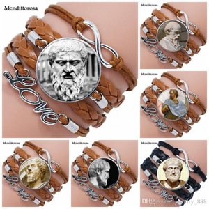 Socrates and Plato For Women Fashion Jewelry Glass Cabochon Maxi Multilayer Black Brown Leather Bracelet Bangle Jewelry