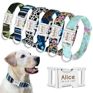 Dog Collars & Leashes Collar Custom Printed Tag Perro Personalized Nylon Pet Puppy Cat ID Engraved For Medium Large Dogs Pug
