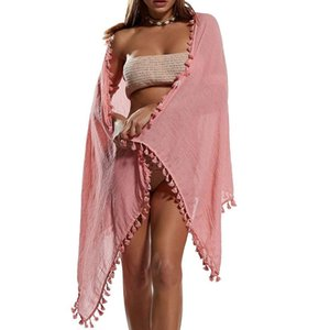 Women Sexy Beach Cover Ups Wrap Sarong Skirts Fashion Tassel Chiffon Solid Swimsuit Female Pareo Shorts Swimming Dress Women's Swimwear
