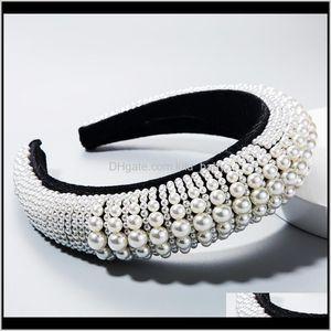 Headbands Jewelry Drop Delivery 2021 Za Hair Band Womens Top-Grade Fashion Pearl Sponge Widened Thickened Baroque Headband Imoz8