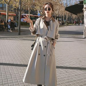 2020 autumn Elegant Women Trench Coat Dress Double Breasted Long Lady Cloak Outerwear Spring Fall Oversize Loose Clothing FY1401