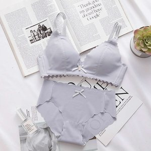 Women Bra Ring Brassiere Bralette and Panty Set No Steel Seamls Wire Free Padded Nylon   Cotton Breathable Plain Dyed