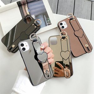 Make Up Mirror suit caseS coque For iphone 12 11 pro max XR XS 7 8 PLUS cell phone case Strap Stand Back Cover