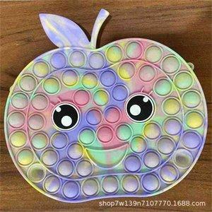 Cartoon Cute Tie Dye Push Pioneer Handbag Poppers Bubbles Apple Bear Children's Wallet Messenger Bag Decompression Crossbody Pack Purse Handbag G93NXF8
