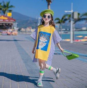 Grandes meninas desenhos animados impressos vestidos de faixa de verão crianças retalhos de manga curta solta vestido casual roupas antigas roupas de crianças 3-15T A6326