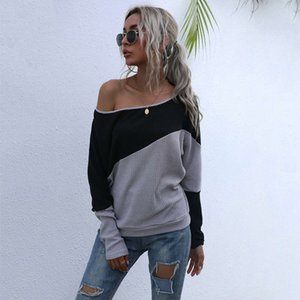 the Sexy off Casual Dresses shoulder color matching T-shirt for women's autumn and winter wear