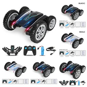 2021 Outdoor Leisure Sports Games Rotating stunt car double-sided charging remote control Transforming tipping bucket children's toy