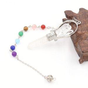 Pendants 2021 Natural White Pink Crystal Hexagon Angel Pendant Pendulum Reiki Healing Charms With 7 Stone Beads Chain
