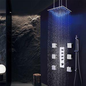 숨겨진 비 LED 욕실 샤워 콤보 세트 지능형 온도 조절 식 3 기능, 벽 장착형 사각형 탑 스프레이 헤드 시스템 6 사이드 제트 황동 크롬