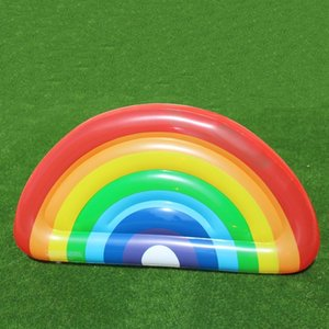 Semi Circle Rainbow Inflatable Floats Easy To Carry Pool Water Toy Resuable PVC Swim Ring For Adults And Children 60at B