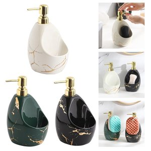 Liquid Soap Dispenser With Sponge Holder Ceramic Caddy Hand And DISH 2 In 1 Organizer For Countertop Counter Adult