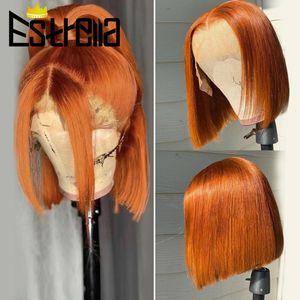 Parrucche di pizzo Color Color Short Bob Part Orange Ginger Straight Brasiliano Remy 13 * 5 * 1 T Parrucca 150% Capelli umani per le donne