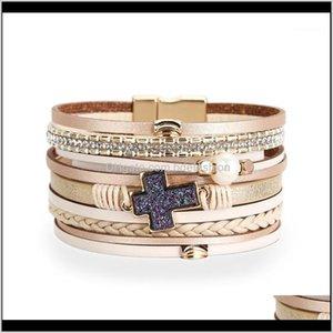 Jewelrytrendsy Vintage Multilayer Handmade Кожа для Женщины Мода Браслеты Браслеты Ювелирные Изделия Оптовая продажа 1 Доставка 2021 Ke4mr