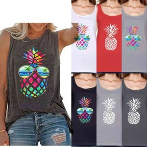 Vintage Colorful Pineapple Sunglasses Beach Tank Tops for Women Funny Graphic Vest Casual Summer Sleeveless Tee Shirts FY2555
