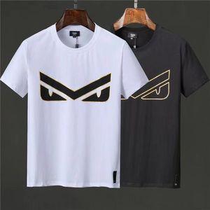 2021 Yüksek Kaliteli erkek T-Shirt Polo Gömlek Casual Küçük Canavar Göz Desen Kısa Kollu Üst İki Renk