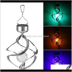 Portable Lanterns Solar Powered Led Waterproof Chimes Wind Spinner Outdoor Hanging Spiral Garden Light Courtyard Decoration Zza239 Ju9 5P32D