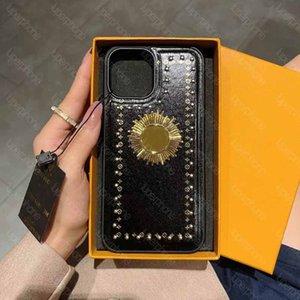 Роскошная металлическая буква логотип дизайнер дизайнер кожаный чехол для телефона для iPhone 12 Pro Max 11 11 Pro 7 8 6 6S PLUS высокое качество крышки с L ящикой