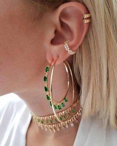 Emerald green drop cz rectangle cubic zirconia gold plated big hoop earring
