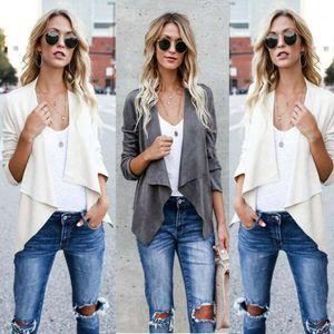 New Europe Custom Design Women Faux Suede Duster Short Jacket Biker Blazer Lady Coat Blouse Cardigan Top Solid Clothes1