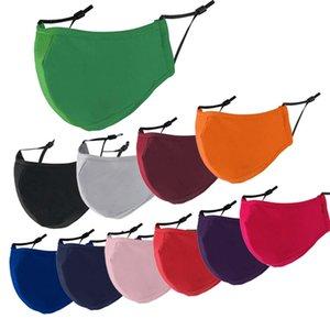 Máscaras de algodão de 3 camadas Adult dustproof respirável preto azul verde verde cinza cinza laranja máscara para homens e mulheres laváveis Anti-Haze PM2.5 FaceMask