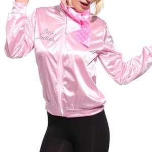Basic Coats Solid Tracksuit for Ladies Retro Jacket Women Fancy Dress Grease Costume Pink