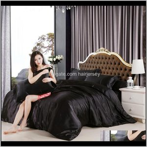 Sets Imitate Silk Feel Satin Solid Black White Purple Bedding Single Queen Size King Duvet Cover Set Bedclothes Bed Sheet Cgtdt Xh61V