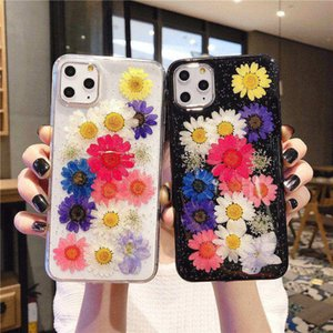 for iPhone 12 Pro Max 11 XS XR 8 7 Glitter Foil Case Real Colorful Flowers Soft Silicone Cover