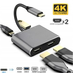USB Type C Hub to Dual Monitor Laptop Docking Station 2 Hdmi-Compatible PD USB MST Adapter For MacBook Pro Samsung