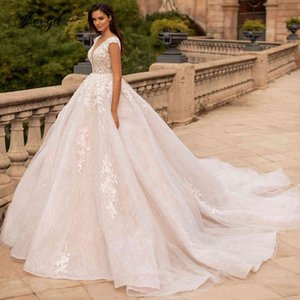 Vestidos De Novia Traugel Ruglooze Kant Baldress Sexy V-neck Applications Kralen Kapel Train Vintage Wedding Dresses