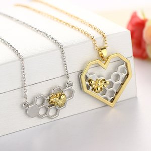 Pendant Fashion Honeycomb Boutique Heart-shaped Real Gold Bee Necklace Insect Jewelry