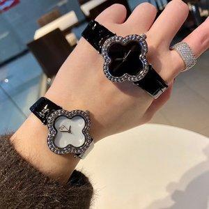 Fashion Brand Watches Women Girl Flowers Crystal Style Leather Strap Wrist Watch VA02