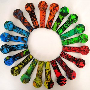 120pcs Multi Color Printing Smoking Pipes 87mm Silicone Tobacco Pipe with Metal Screen Bowl Amazon Supplier