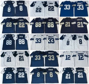 Vintage 22 Emmitt Smith Football Jerseys 21 Deion Sanders 8 Troy Aikman 33 Tony Dorsett Dallas
