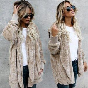Faux Manteau Femmes 2021 Automne hiver chaud chaud doux fourrure veste de fourrure de peluche de peluche peluche poche sans boutonnette avec capuche