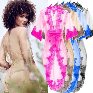 Sexy Large Size Sexy Lace Night Robe Lace Bathrobe Perfect Wedding Bride Bridesmaid See Through Robes Dressing Gown For Women